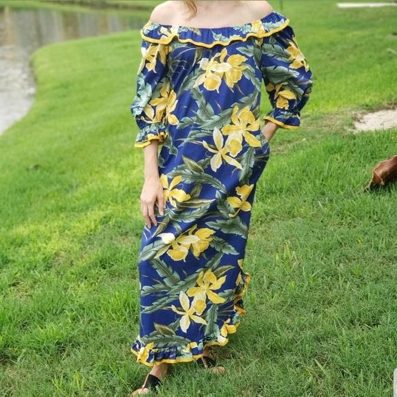 05a3fa79c0d Hilo Hattie Hawaiian Muumuu Dress Maxi Ruffle Sz M